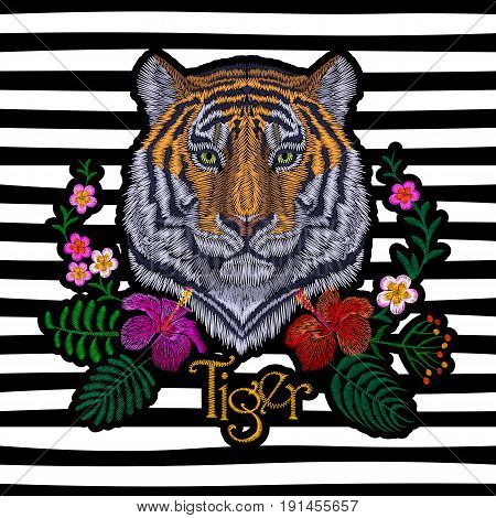 Tiger Head Tropic Flower. Front View Embroidery Patch Sticker. Orange Striped Black Wild Animal Stit