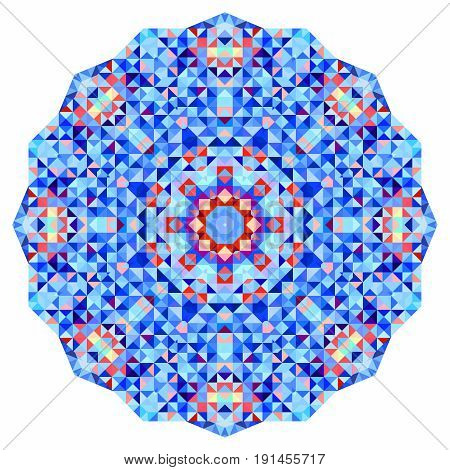 Abstract colorful circle backdrop. Geometric vector mandala. Mosaic banner of geometric shapes