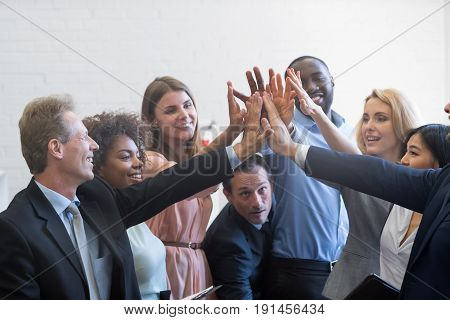 Mix Race Business People Group Cheerful Giving High Five, Happy Smiling Businesspeople Team Celebrating Success
