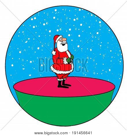 Christmas cartoon illustration of a jolly Santa Claus inside a snow globe.
