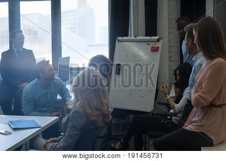 Mix Race Businesspeople Having Presentation On Flip Chart While Meeting Communication Discussion, Business Man And Woman Brainstorming Office Workers Concept