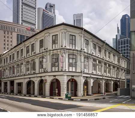Singapore Singapore-December 12 2015: Interesting Asian Style Building in South Bridge Street Singapore