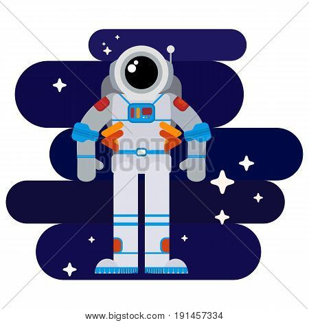 Flat astronaut in space among stars in a spacesuit