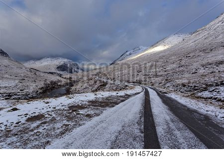 Winter landscape of Scottish nature with Glencoe mountains at Glen Etive Highlands Scotland.