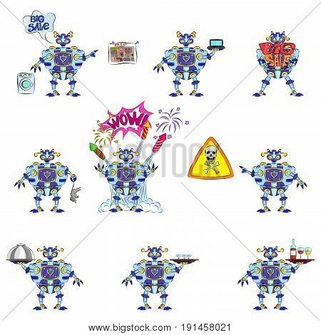 Blue robot advertising compilation android transformer steel