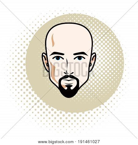 Man face human head. Vector character wearing whiskers and beard handsome bald male.