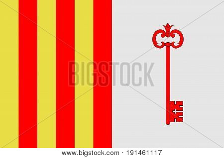 Flag of Barcelonnette is a commune of France and a subprefecture in the department of Alpes-de-Haute-Provence in the Provence-Alpes-Cote d'Azur region. Vector illustration