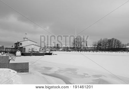 Winter day Kronverksky Strait and rescue station in St. Petersburg