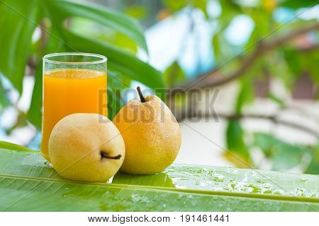 Fresh yellow pear tropic fruit summer refreshment smoothie shake drink outdoors