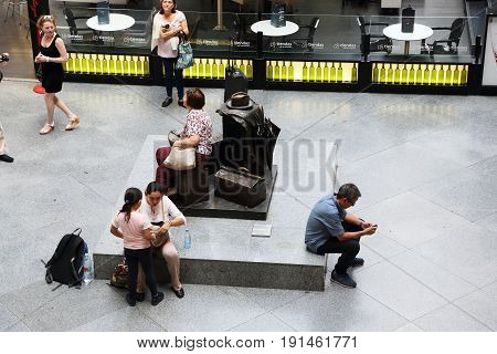 MADRID, SPAIN - MAY 24, 2017:It is a monument to forgotten luggage in the waiting hall of railway station Atocha.