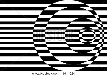 Op Art Contrasting Concentric Circles Black And White