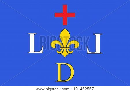 Flag of Digne-les-Bains is a commune of France capital of the Alpes-de-Haute-Provence department and situated in the region of Provence-Alpes-Cote d'Azur. Vector illustration