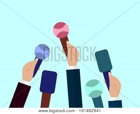 Set of Microphones. Journalism concept Mass Media TV Interview Breaking News press conference concept