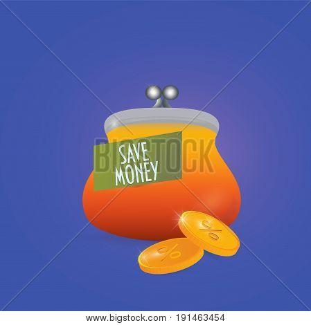 Save money concept vector illustration. Retro wallet. Saving money icon.