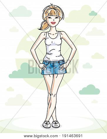 Beautiful young blonde woman standing on background with blue heavens clouds and wearing fashionable casual clothes. Vector human illustration.