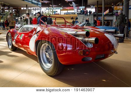 STUTTGART GERMANY - MARCH 02 2017: Sports racing car Maserati Tipo 63 (Birdcage) 1959. Scuderia Serenissima. Europe's greatest classic car exhibition