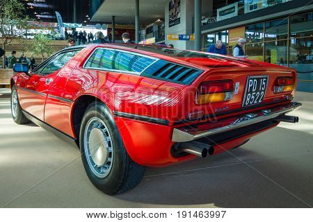 STUTTGART GERMANY - MARCH 02 2017: Sports car Maserati Bora (Tipo 117) 1971. Europe's greatest classic car exhibition