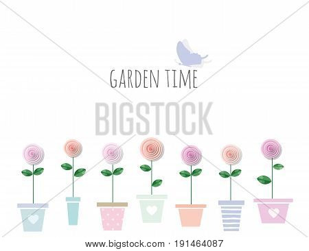 Trendy print with garden flowers in pots. Cute template with copy space for your text. For fashion print birthday greeting card wedding notebook cover scrapbook. Isolated on white. Girly. vector