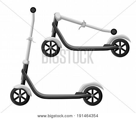 Roller Scooter Set. Balance Bikes. Different Scooters Eco Alternative City Transport. Flat Design Bi