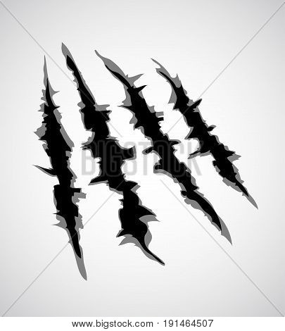An illustration of a monster claw or hand scratch or rip through white background. Vector illustration EPS10