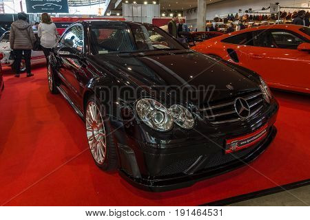 STUTTGART GERMANY - MARCH 02 2017: Mid-size luxury sports car Mercedes-Benz CLK63 AMG Black Series 2007. Europe's greatest classic car exhibition