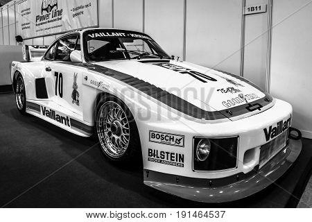 STUTTGART GERMANY - MARCH 02 2017: Racing car Porsche Kremer 935 K2 1978. Black and white. Europe's greatest classic car exhibition