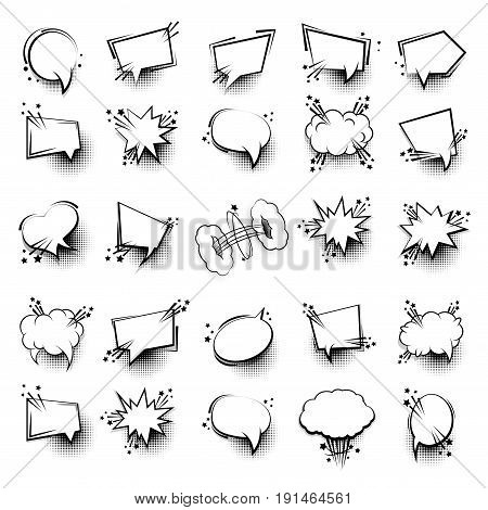 Funny 25 set comic book white cartoon text dialog, empty cloud. Sale banner. Abstract creative hand drawn vector advertising blank bubble. Comic speech balloon halftone dot background pop art style
