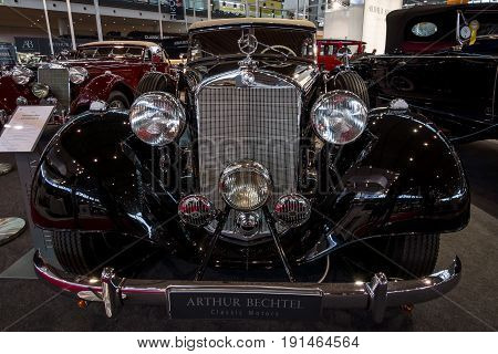 STUTTGART GERMANY - MARCH 02 2017: Luxury car Mercedes-Benz Typ 320 Cabriolet D (W142) 1939. Europe's greatest classic car exhibition