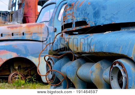 Old Rusting Blue Truck