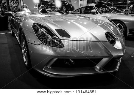 STUTTGART GERMANY - MARCH 02 2017: Grand tourer car Mercedes-Benz SLR McLaren Stirling Moss (limited edition 75 vehicles) 2009. Black and white. Europe's greatest classic car exhibition