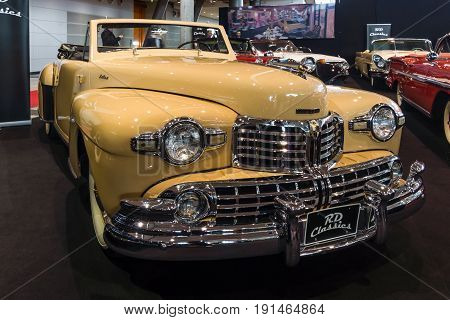 STUTTGART GERMANY - MARCH 02 2017: Personal luxury car Lincoln Continental cabriolet 1948. Europe's greatest classic car exhibition