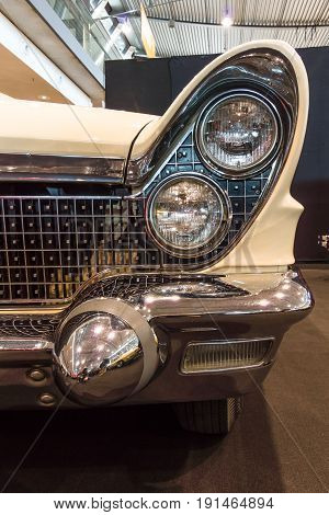 STUTTGART GERMANY - MARCH 02 2017: Fragment of personal luxury car Lincoln Continental Mark V convertible 1960. Europe's greatest classic car exhibition