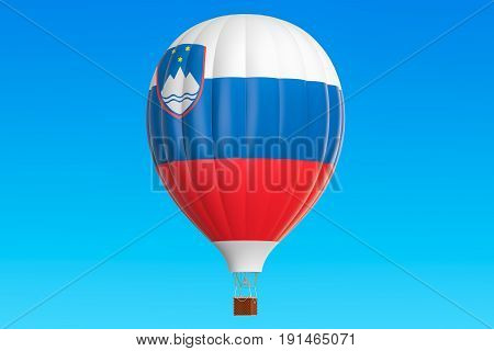 Hot air balloon with Slovenian flag 3D rendering