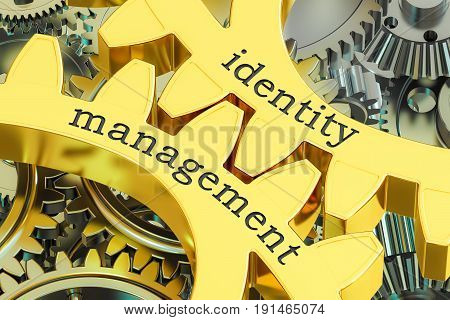 identity management concept on the gearwheels 3D rendering