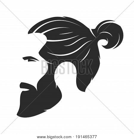 Silhouette of a bearded man, hipster style. Barber shop emblem. Fashion badge label. Vector illustration.