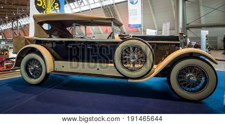 STUTTGART GERMANY - MARCH 02 2017: Luxury car Mercedes-Benz 24/100/140 PS Fleetwood D / USA 1924. Europe's greatest classic car exhibition