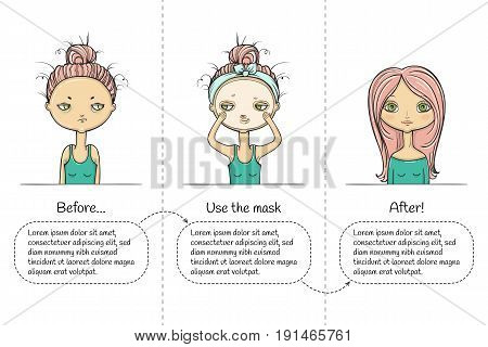 Facial treatment three steps instruction with girl. Vector illustration.