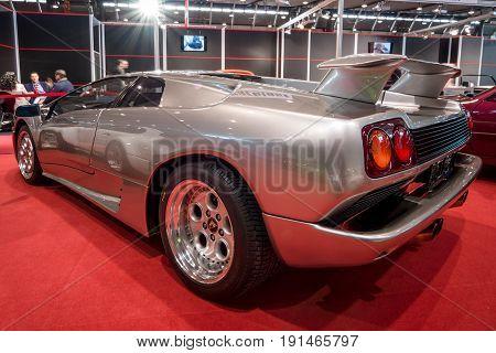 STUTTGART GERMANY - MARCH 02 2017: Sports car Lamborghini Diablo 5.7 1995. Rear view. Europe's greatest classic car exhibition