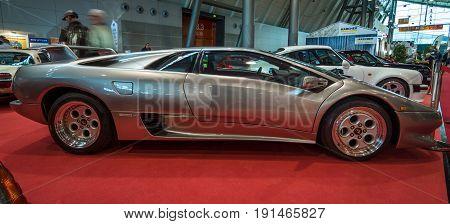 STUTTGART GERMANY - MARCH 02 2017: Sports car Lamborghini Diablo 5.7 1995. Europe's greatest classic car exhibition