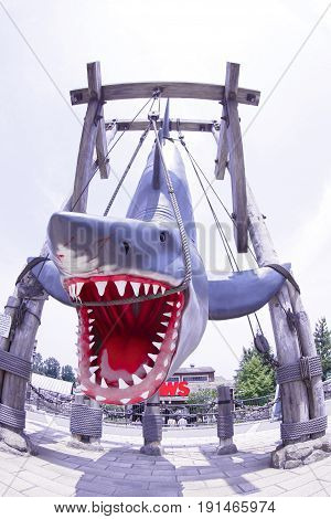 OSAKA, JAPAN - Nov 26, 2016 : Photo of the JAWS,one of the most famous attraction at Universal Studios JAPAN, Osaka, Japan.