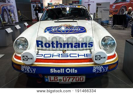 STUTTGART GERMANY - MARCH 02 2017: Racing car Porsche 911 by Crossroad Solutions 1984. Europe's greatest classic car exhibition