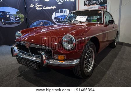 STUTTGART GERMANY - MARCH 02 2017: Sports car MGB GT V8 1973. Europe's greatest classic car exhibition