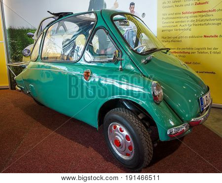 STUTTGART GERMANY - MARCH 02 2017: Microcar Heinkel Kabine (Trojan 200) 1956. Europe's greatest classic car exhibition