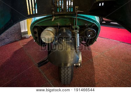 STUTTGART GERMANY - MARCH 02 2017: Engine of the microcar Heinkel Kabine (Trojan 200) 1956. Europe's greatest classic car exhibition