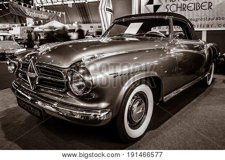STUTTGART GERMANY - MARCH 02 2017: Vintage car Borgward Isabella Cabriolet (2+2) 1957. Sepia toning. Europe's greatest classic car exhibition