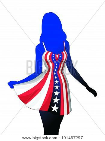 Woman in American Patriotic Dress is an illustration of a silhouette of an beautiful woman or girl in a patriotic American red, white and blue dress. Dress is made of a stars and stripes design.