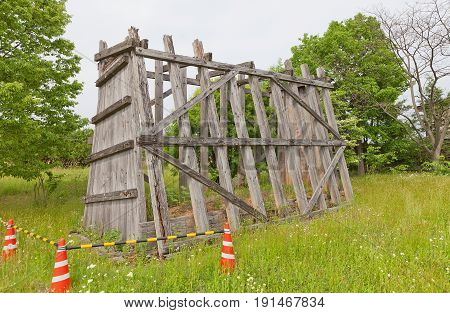 MORIOKA JAPAN - MAY 22 2017: Framework used for reconstruction of clay wall (tsuijibei) of Shiwa Castle in Morioka Japan. Castle was erected in 803 against local emishi tribes and abandoned in 811
