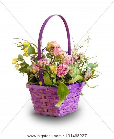 Basket of dried flowers on a white background. Ikebana.