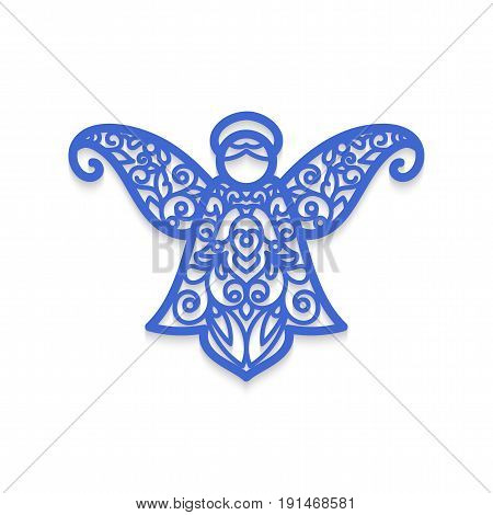 Angel laser cutting. Christmas tree decoration. Laser Cutting template for greeting card envelope wedding invitation save the date menu rsvp Christmas. Cutting file. Silhouette pattern. Die cut card.