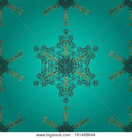 Dark color illustration. For your design sketch. Vector geometric background. Dark pattern on blue and dark background with golden elements.